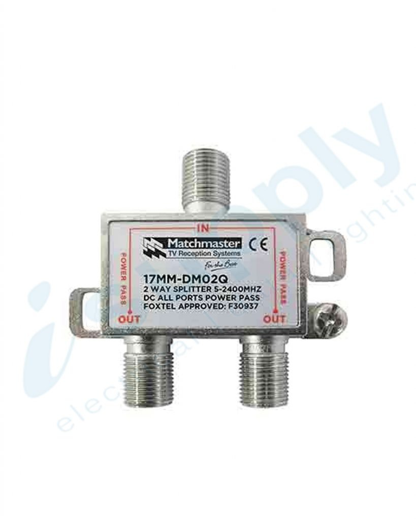 Matchmaster 2 Way Splitter 'F' Type 5-2400MHz Power Pass All Ports 17MM-DM02Q