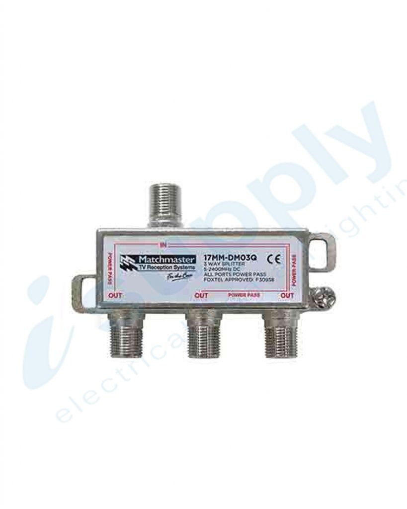 Matchmaster 3 Way Splitter 'F' Type 5-2400MHz Power Pass All Ports 17MM-DM03Q