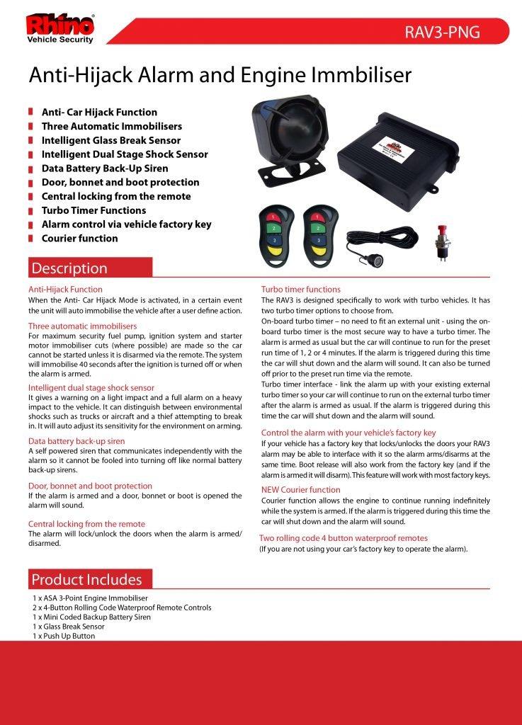 Rhino Anti-Hijack Car Alarm and Engine Immobiliser RAV3-PNG