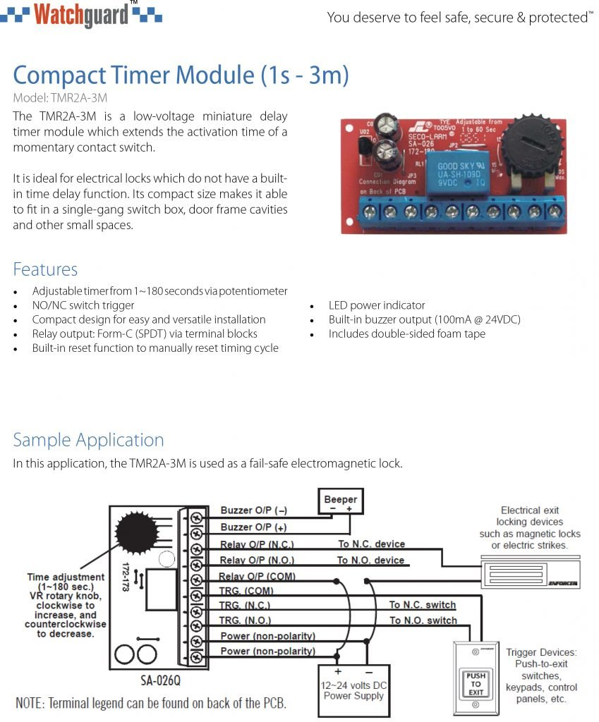 Watchguard Compact Timer Module 1s 3m Tmr2a Isupply Electrical 24vdc Buzzer Wiring Diagram 0