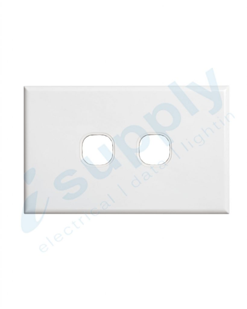 DEXTON 2 Gang Slim 5mm Plate White DXSW2/P