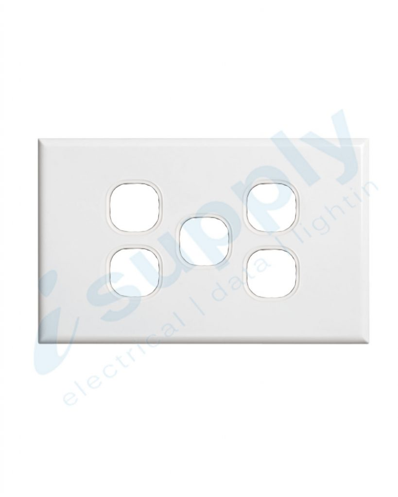 DEXTON 5 Gang Slim 5mm Plate White DXSW5/P
