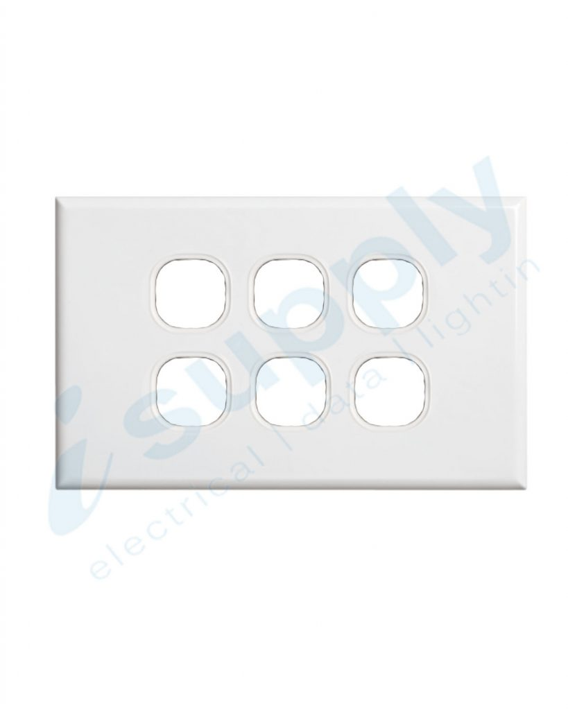 DEXTON 6 Gang Slim 5mm Plate White DXSW6/P