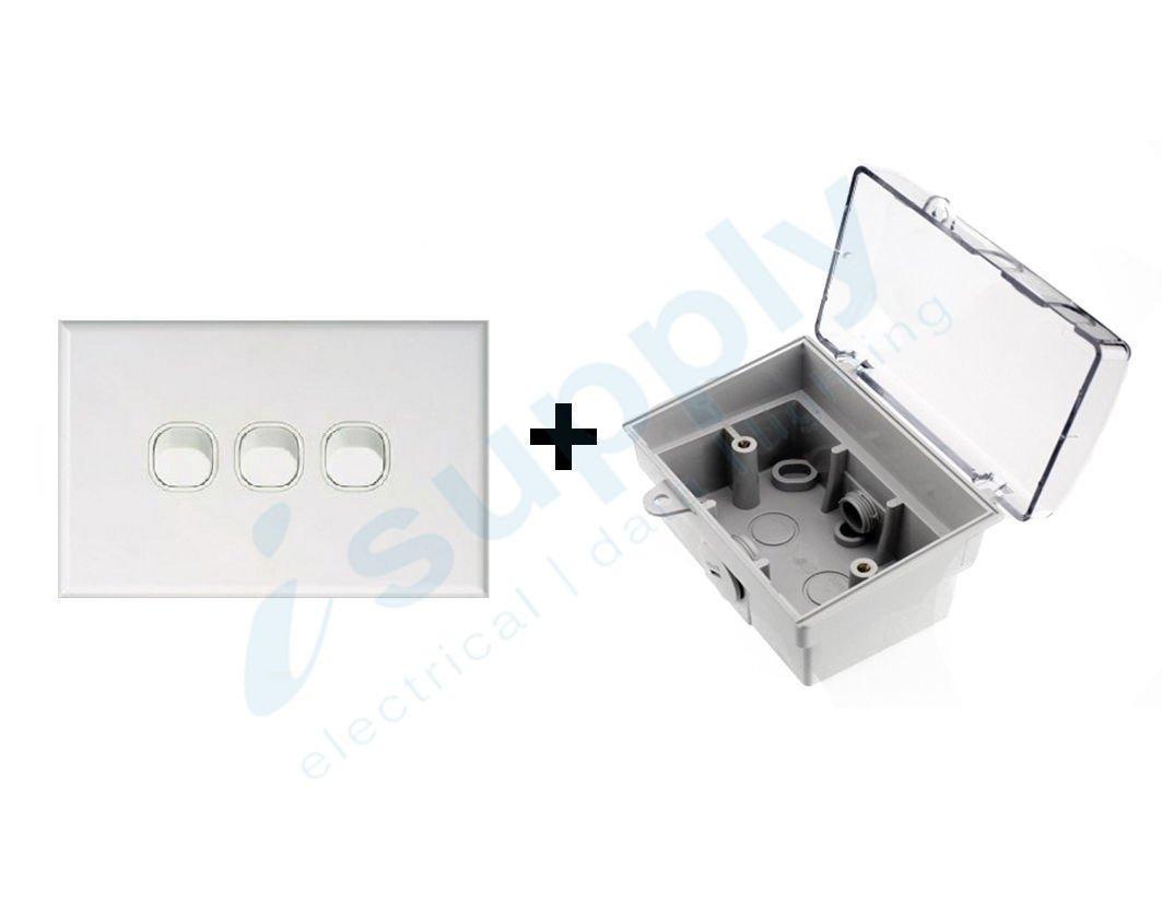 Dexton Triple Light Switch 3 Gang Weatherproof Box Lock Clear Lid Isupply Electrical