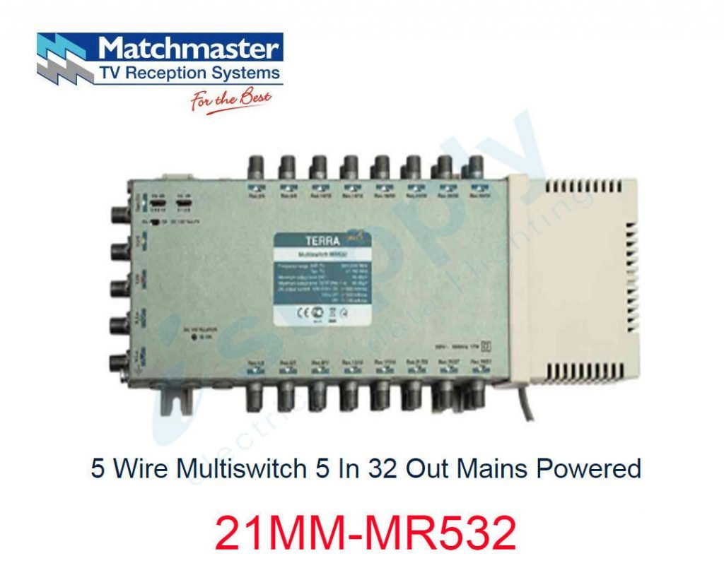 Matchmaster 5 Wire Tap 15db 4 Satellite 1 Terrestrial 21mm Sd515 Multiswitch Light Wiring Diagram In 32 Out Mains Powered Mr532