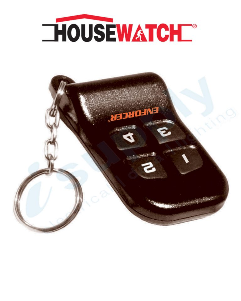 HOUSEWATCH RF TRANSMITTER, 4 CHANNEL WITH KEY CHAIN 12V DC BLACK 75-063
