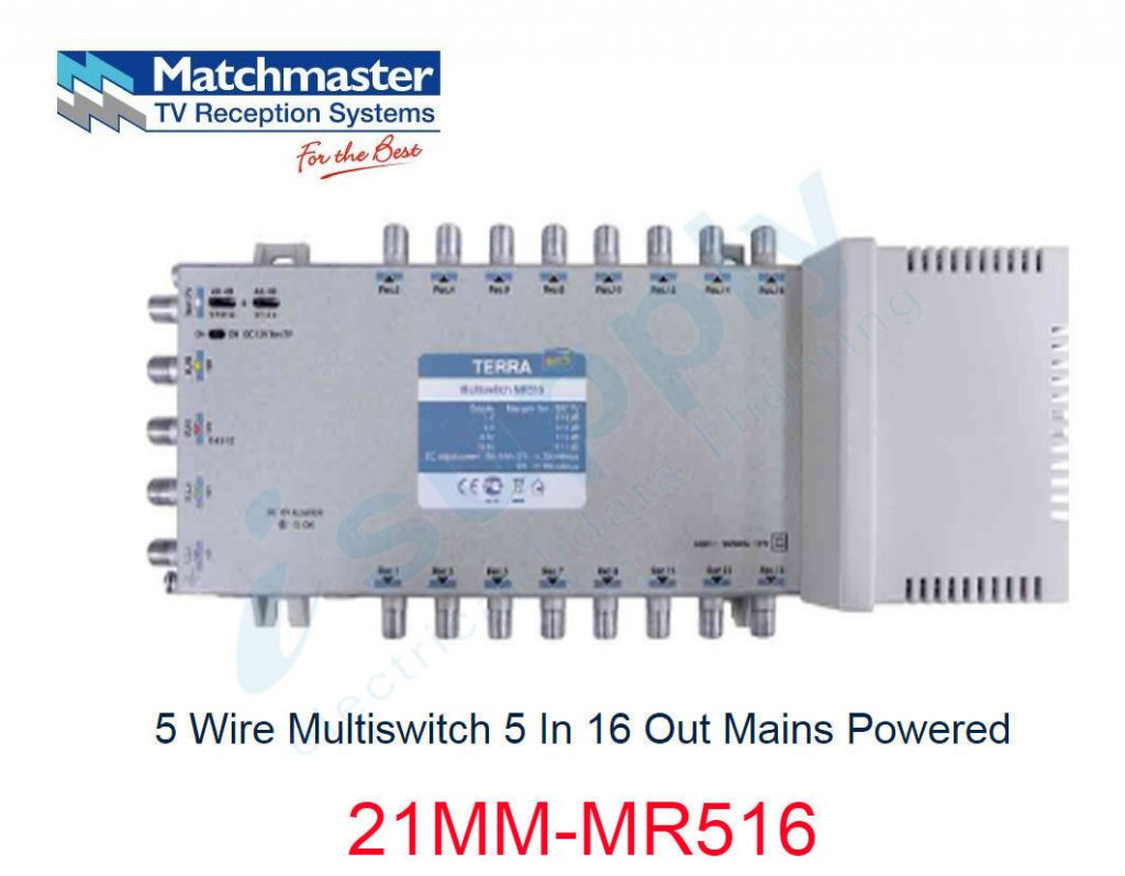 Matchmaster 5 Wire Tap 15db 4 Satellite 1 Terrestrial 21mm Sd515 Multiswitch Light Wiring Diagram In 16 Out Mains Powered Mr516