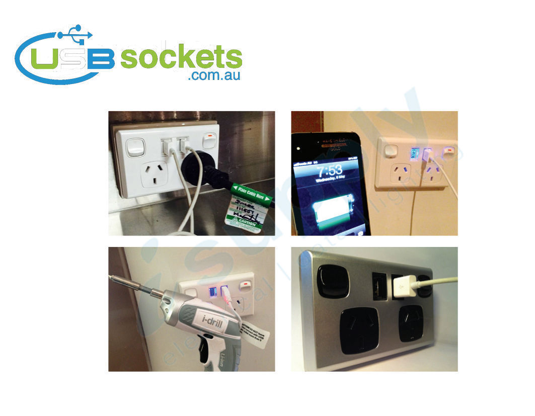 Usb Double Power Point Plug Socket Switch Wall Australian Cords Electrical And Plugs 231850178916 9