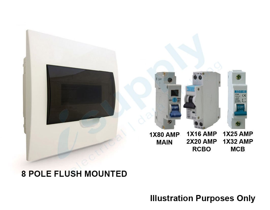 Complete 8 Way Pole Flush Distribution Board Switchboard Safety Fuse Box Rcd Circuit Breaker Together With Switch Stock Photos Main Isupply Electrical
