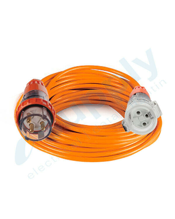 32 Amp Extension Lead: Single Phase,3 pin round  240V 10 20 30 40 50 Metres