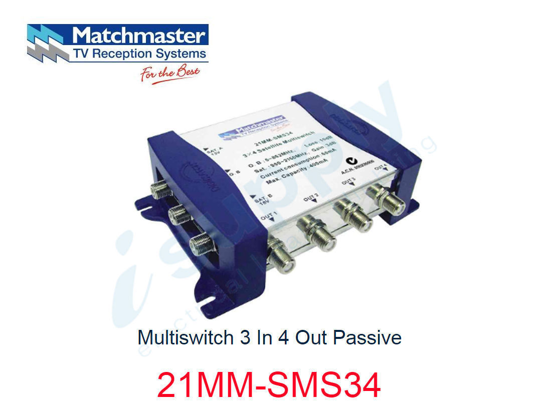 Matchmaster Multiswitch 3 In 4 Out Passive 21mm Sms34 Isupply Light Wiring Diagram Electrical